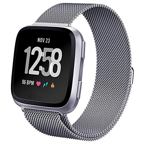 hooroor Compatible Bands Replacement for Fitbit Versa Smart Watch Women Men Small Large, Milanese Loop Stainless Steel Metal Sport Bracelet Strap Magnet Lock Wristbands (Graphite, Large)