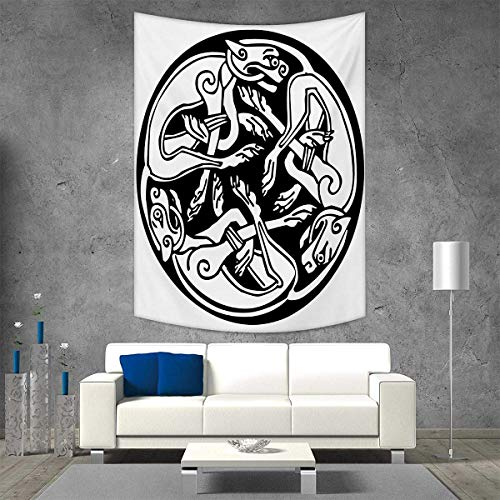smallbeefly Celtic Vertical Version Tapestry Three Dogs Biting Their Tails Animal Forms Vikings Heritage Celtic Knots Medallion Throw, Bed, Tapestry Yoga Blanket 70W x 84L INCH Black White