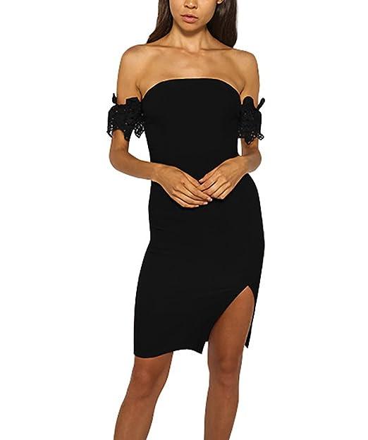 Mujer Vestidos De Fiesta Cortos Verano Elegantes Vintage Ajustados Vestidos Coctel Bandeau Hombros Descubiertos Con Encaje Color Sólido Abiertas Vestidos ...