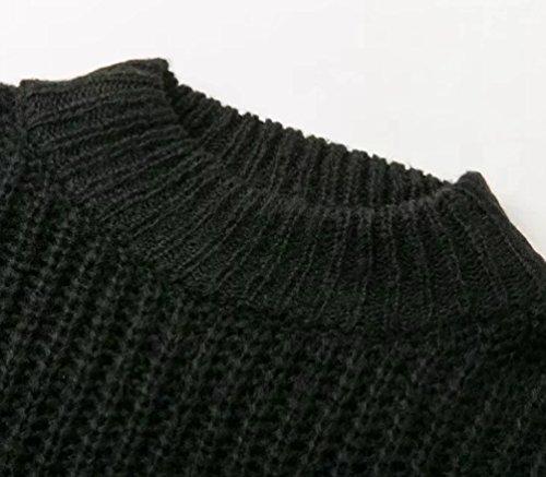 YAANCUN Mujer Otoño Invierno Primavera De Punto Grueso Suéter Manga Larga Suelto Pullover Negro