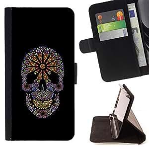BullDog Case - FOR/Samsung ALPHA G850 / - / FLORAL BLACK FLOWERS SPRING SKULL PURPLE /- Monedero de cuero de la PU Llevar cubierta de la caja con el ID Credit Card Slots Flip funda de cuer