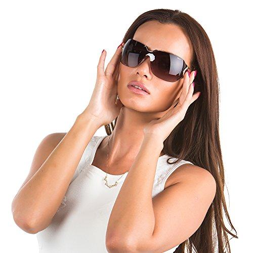 Chopard SCH 883 8FC Women Rimless Shield Purple & 23 KT Rose Gold Plated Sunglasses ()