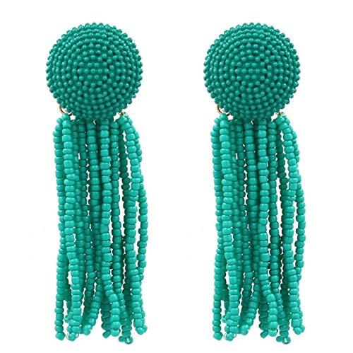 Handwork Beads Thread Long Tassel Dangle Drop Earrings Ethnic Geometric Charms Eardrop (Green)
