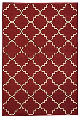 Anti-Bacterial Rubber Back AREA RUGS Non-Skid/Slip 8x11 Floor Rug | Red Ivory Blue Brown Moroccan Trellis Indoor/Outdoor Thin Low Profile Living Room Kitchen Hallways Home Decorative Traditional Rug