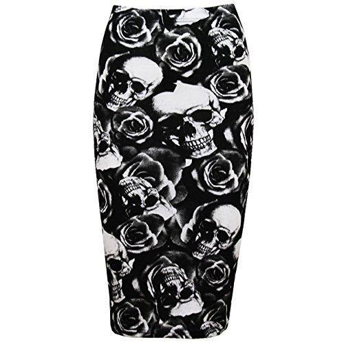 Fashion Star Se/ñoras Leopardo Rayas Calavera Huesos Impresiones Alta Cintura Animada Tubo para Mujer Ajustado Bodycon l/ápiz Midi c/óctel por la Noche Falda Plus tama/ños