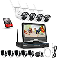 SANNCE 4CH 720P HD NVR Wireless Security CCTV Surveillance Systems with Build-in 10.1 LCD Monitor and (4) 1.0MP Wireless WIFI Bullet IP Cameras,P2P, IR Night Vision with 1TB Hard Drive