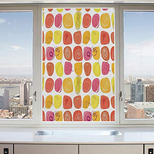 3D Decorative Privacy Window Films,Retro Pineapple Lemon Kiwi Raspberry Pop Art Modern Food Icons Caricature Graphic,No-Glue Self Static Cling Glass film for Home Bedroom Bathroom Kitchen Office 17.5x