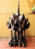 Thailand : Spirit House (Large Sized) 12 x 12 x 27 inches, Hand Made Wood Carving Thai Vintage Design By Conserve Brand.