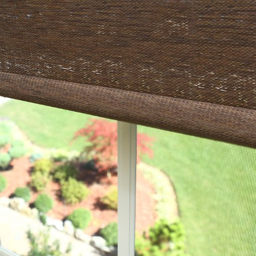 Best Home Fashion Premium Single Wood Look Roller Window Shade – Chocolate – 25″ W x 64″ L