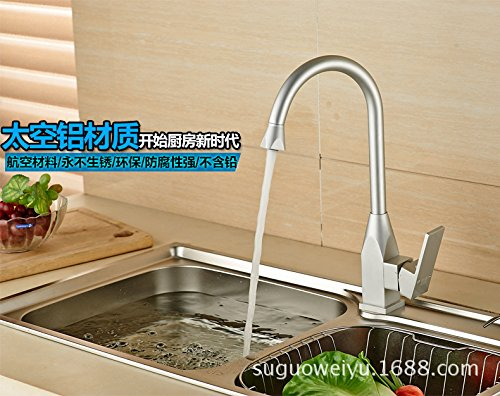 Furesnts Modern home kitchen and Bathroom Sink Taps Tap the Space aluminum sink mixer kitchen hot/cold running water to rotate the mixer Bathroom Sink Taps,(Standard G 1/2 universal hose ports)