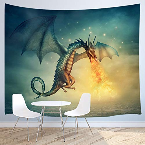 JAWO Dragon Tapestry, Flying Fantasy Dragon Fire on Ocean Tapestry Wall Hang Wall Dorm Room Home Decor Wall Decor Living Room Bedroom 71x60inches