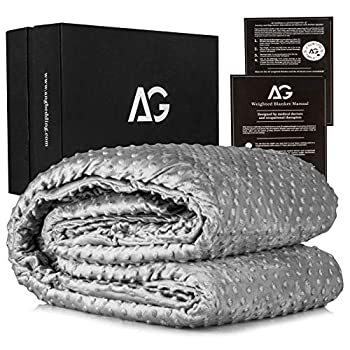 Image of AG Adults Weighted Blanket 12 lbs with Duvet Cover, 60'' x 80'' | Heavy Blanket for Adults, Cooling Blanket | Calming Weighted Blanket | Heavy Fleece Blanket, Premium Cotton Material with Glass Beads Home and Kitchen