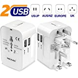 MAXAH Universal Travel Plug Adapter, All in One International Wall Charger AC Power with Dual USB Charging Ports (1A) for USA Europe UK AU - White
