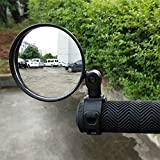 LUYEE 2 Pack Bundle Universal Adjustable Rotatable Rearview Handlebar Glass Mirror for Mountain Road Bike Cycling Bicycle