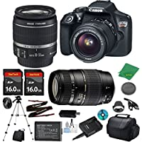Canon EOS Rebel T6 Camera with 18-55mm IS Lens + Tamron 70-300mm AF + 2pcs 16GB Memory + Camera Case + Memory Card Reader + Professional Tripod + 6pc ZeeTech Starter Set