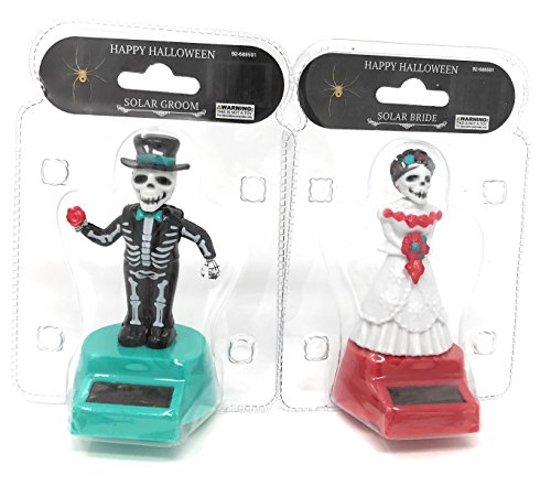 Doll Bride Costume (Solar Powered Dancing Skeleton Groom and Bride for Halloween or Over the Hill (Red))