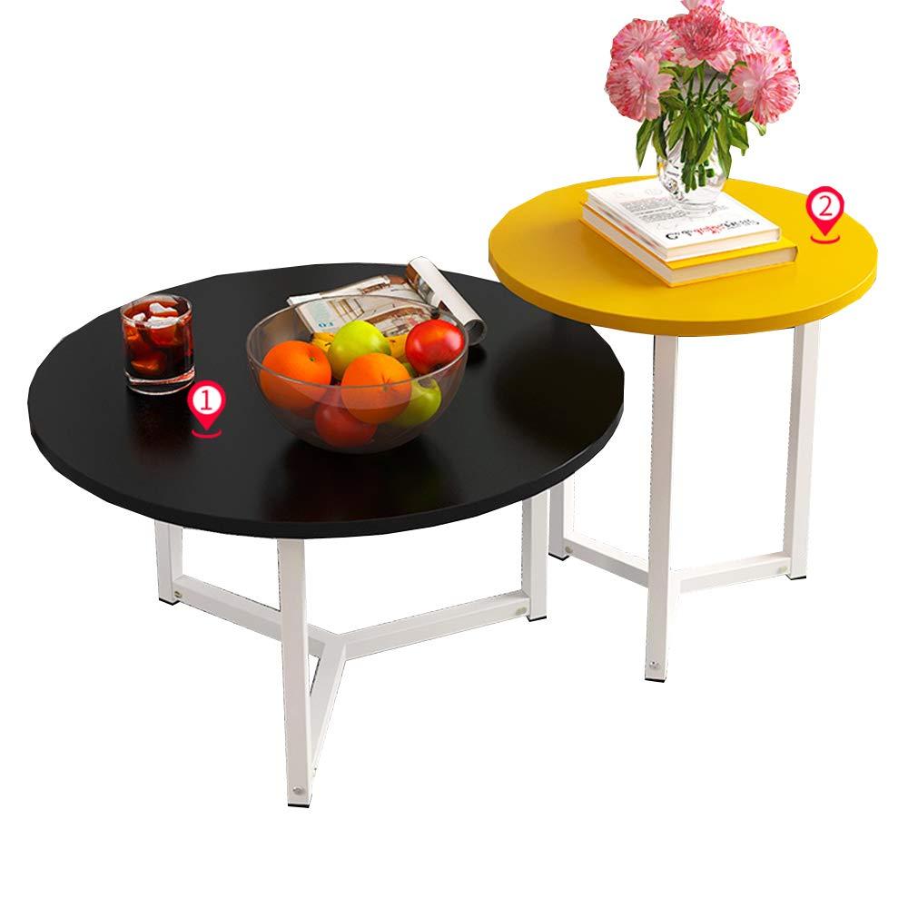 YNN ポータブルテーブル リビングルーム木製デスクトップ金属フレームのための2つのシンプルなサイドテーブルのラウンドコーヒーテーブルセット(11色) (サイズ さいず : 10) 10  B07PRLNXJM
