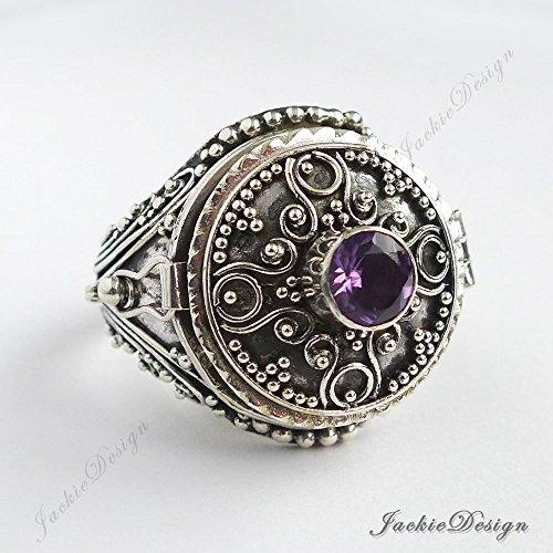 (Purple Amethyst Size 9 Poison Ring Locket Bali 925 Sterling Silver JD139)