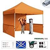 Eurmax Premium 10x10 Trade Show Tent Event Canopy Market Stall Canopy Booth Outdoor Canopy Bonus: Four (4) Weight Bags+roller Bag (Orange)
