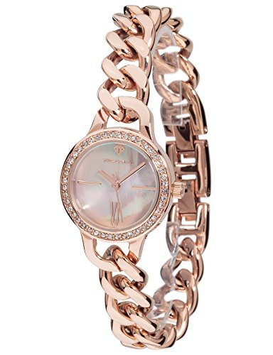 Yves Camani Burgaudine Women's Wrist Watch Quartz Analog Stainless Steel Rosegold Dial Mother Of Pearl