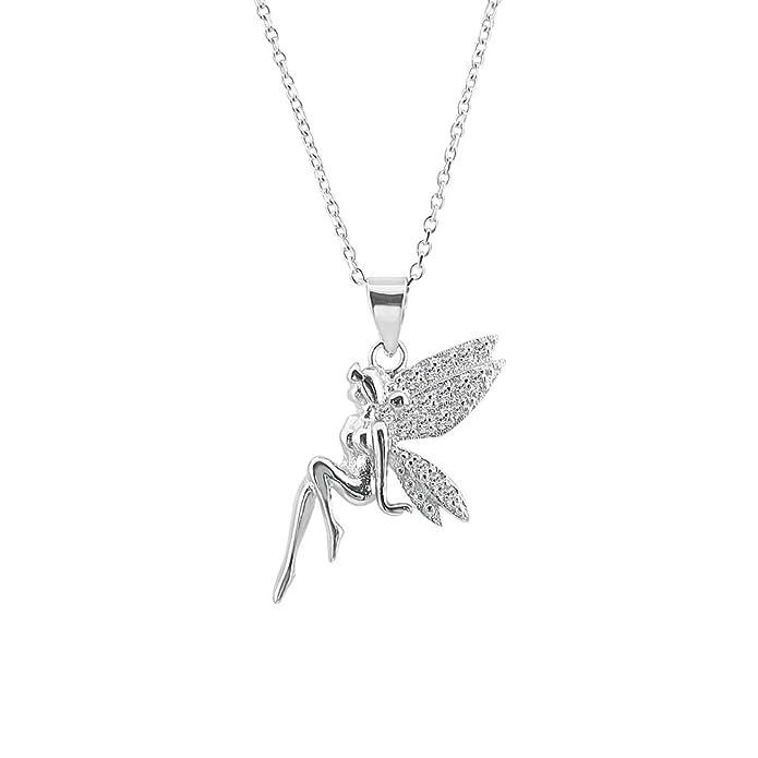 85a30ff00a42 Hada sentada de plata de ley 925 chapada en rodio con alas de circonita  cúbica