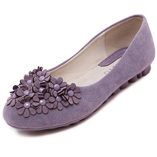 Cybling Casual Slip Op Loafers Schoenen Voor Dames Outdoor Walking Zachte Zolen Bloemen Flats Paars