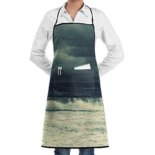 Kitchen Bib Apron Neck Waist Tie Center Kangaroo Pocket Sea Sky Clouds Waves Storm Waterproof (Uniform Storm Waterproof)