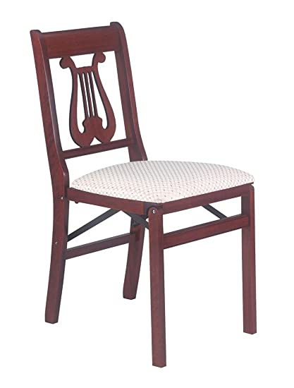 Music Back Folding Chair In Warm Cherry Finish   Set Of 2