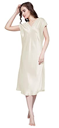 47f7f250300 LilySilk Sexy Silk Nightgowns for Women Long V Neck 22 Momme Mulberry Silk  Chemise Beige Size