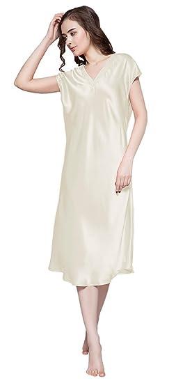 87dc9847b3 LILYSILK Women s 100 Mulberry Silk Nightgown Long Short Sleeve Nightdress 22  Momme Pure Silk Beige Size