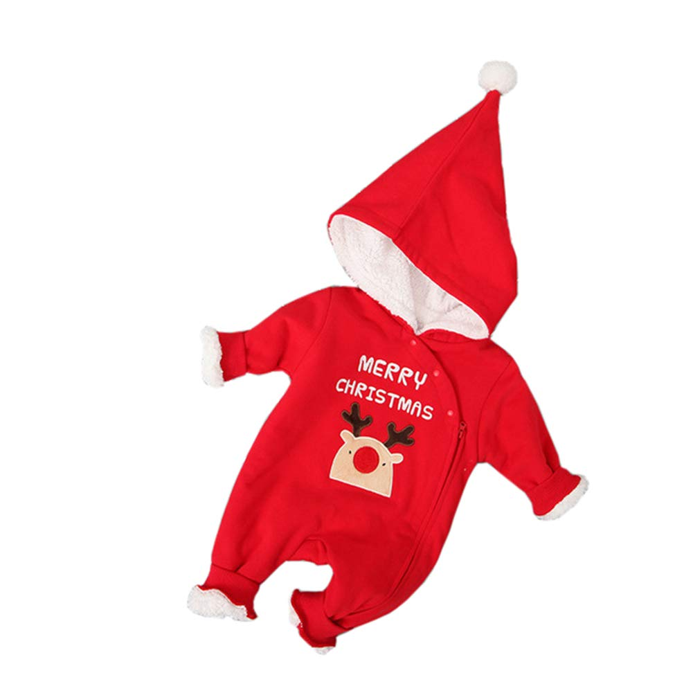 ALLAIBB Neonato Toddler Baby Christmas Hooded Jumpsuit Cartoon Red Plush Romper