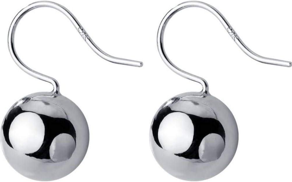 S&RL Pendientes de Plata S925 Pendientes de Perlas Redondas Brillantes Brillantes de Gancho Simple de Estilo Japonés para Mujer.un par