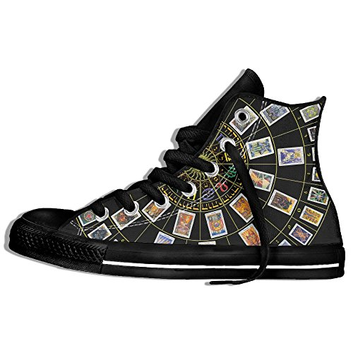 Baskets Montantes Classiques Toile Chaussures Anti-dérapant Astrologie Original Décontracté Marche Pour Hommes Femmes Noir