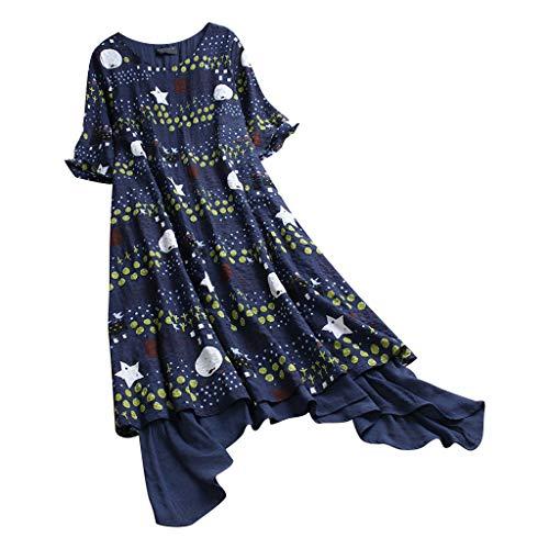 Sunhusing Women's Round Neck Short Sleeve Simple Style Dot Star Print Vintage Stitching Irregular Hem Dress Navy -