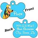 Disney Double Sided Pet Id Tags for Dogs & Cats Personalized For Your Pet (Pluto - Bone Shaped)