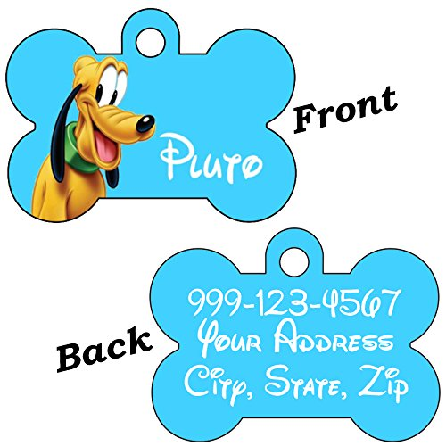 uDesignUSA Disney Double Sided Pet Id Tags for Dogs & Cats Personalized for Your Pet (Pluto, Bone Shaped)