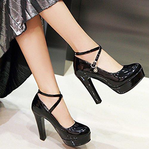 EU Nero 35 Caviglia Donna AIYOUMEI Cinturino Alla Black con xnFUn8qwA