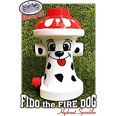 Matty's Toy Stop FIDO The FIRE Dog Hydrant Water Sprinkler for Kids, Attaches to Standard Garden Hose & Sprays Up to 10 Feet High & 16 Feet Wide, Measures 10.75