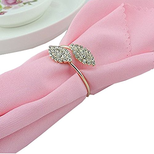 iDili Napkin Rings Set of 12 Pcs Rhinestone Napkin Ring Holders Pack of 12 Handmade Serviette Buckles for Wedding Party and Dinner by iDili (Image #4)