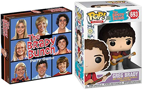 Guitar Brady Bunch Vinyl Pop! Figure #693 TV Show Groovy Greg Bundled with Family Party Game Retro Pack 2 Items