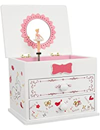 Ballerina Music Jewelry Box Wooden Storage Case for Little Girls, Cartoon Cat, Fur Elise Melody, White UJMC22WT