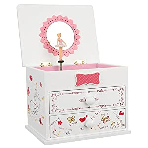 SONGMICS Ballerina Music Jewelry Box for Little Girls, Cartoon Cat, Fur Elise Melody, 5.9″L x 4.5″W x 4.8″H, White