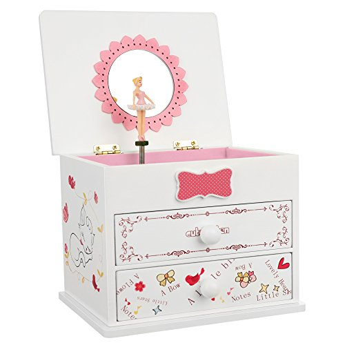 SONGMICS Ballerina Music Jewelry Box Wooden Storage Case for Little Girls, Cartoon Cat, Fur Elise Melody, White UJMC22WT (Pottery Box Barn Jewlery)