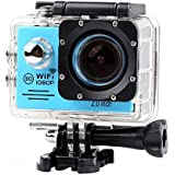 Lightdow LD6000 WiFi 1080P HD Sports Action Camera Bundle with DSP:Novatek NT96655 Chip, 2.0-Inch LTPS LCD, 170° Wide Angle Lens and Bonus Battery (Blue+WiFi)