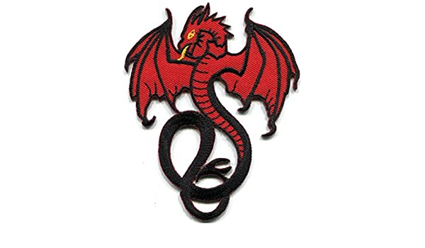 Red dragon fantasy celtic tattoo embroidered applique iron-on patch S-1558