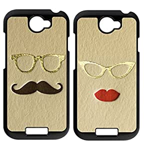 High quality and inexpensive,cheap and fine phonecase, Set of 2 Mr and Mrs. Mustache and Lips black plastic case For HTC ONE S