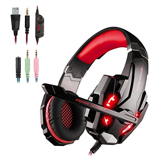 WEIE G9000 Gaming Headset, Surround Sound Gaming Headphone for Xbox One Controller, PC, PS4, Wired Headphone with Crystal Clear Sound, Noise-Canceling Mic & LED Light (RED)