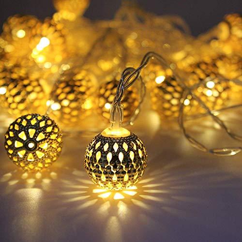 Miradh String Lights Moroccan Ball Multicolor 11ft 16LED Globe Fairy String Light Orb Lantern Christmas Lighting for…