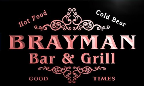 u05229-r BRAYMAN Family Name Bar & Grill Cold Beer Neon Light Sign
