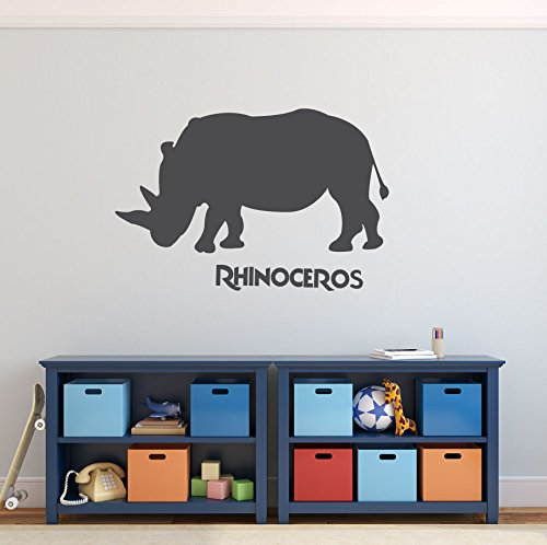 Zoo Animal Wall Decal - Rhinoceros - Safari Decorations Vinyl Sticker Art for the Home, Boy's Bedroom Playroom or Classroom